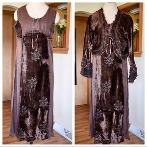 Boho Hippie Dress Set with Shrug Jacket